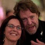 Tim's granddaughter, Dieadra Martino, and John Perry Barlow.           Photo Credit: Joi Ito.