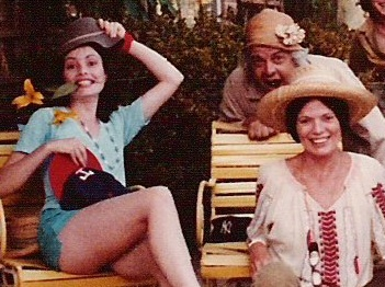 "Mother Flo, Papa Maynard and Lisa, in blue shorts, all acting silly in hats. ""My mother collected hats, and every once in a while we would raid her hat collection. This is in Ojai California in the mid-80's - 20 yrs after Millbrook."
