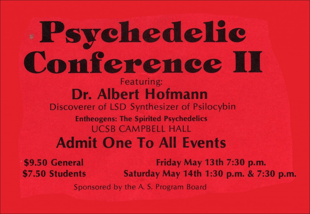 Flyer from Santa Barbara Psychedelic Conference, May 13th and 14th, 1983