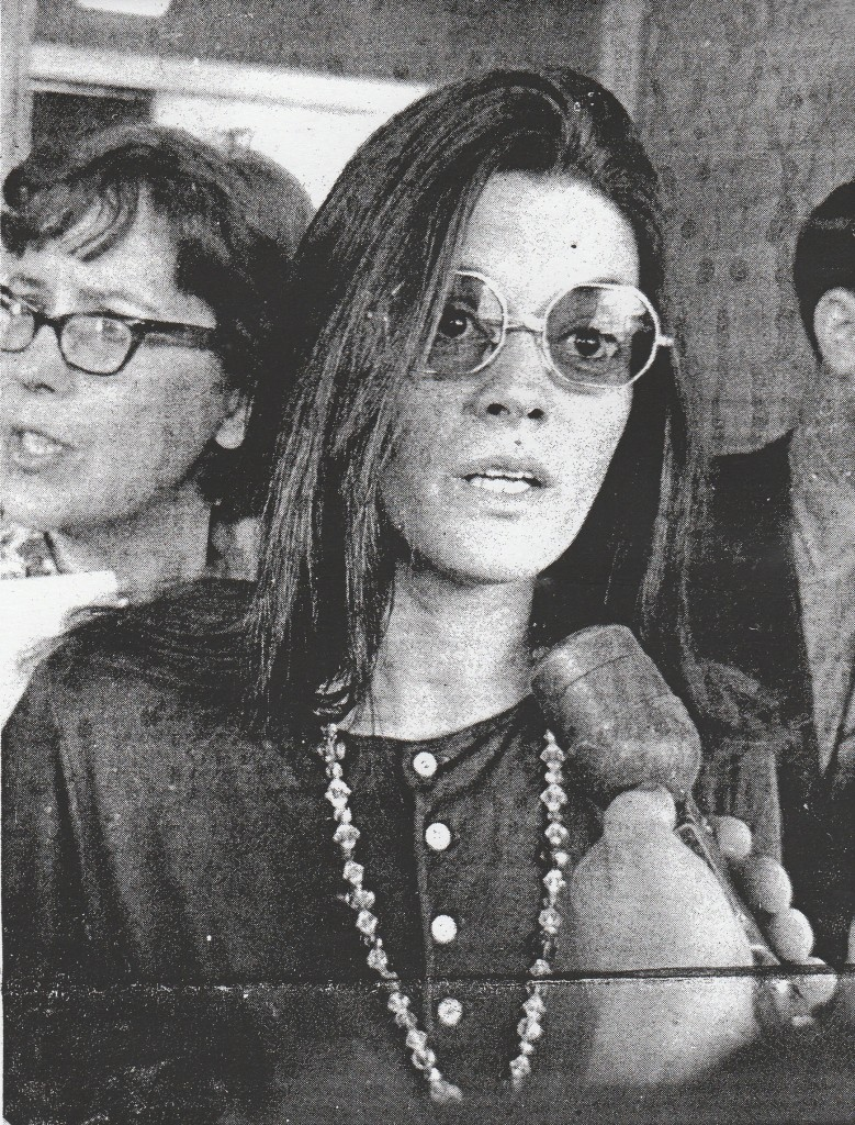 Rosemary Leary speaking to reporters following Timothy's sentencing to 10 years on federal charges in Houston, March 2, 1970. Photo: Robert Altman.