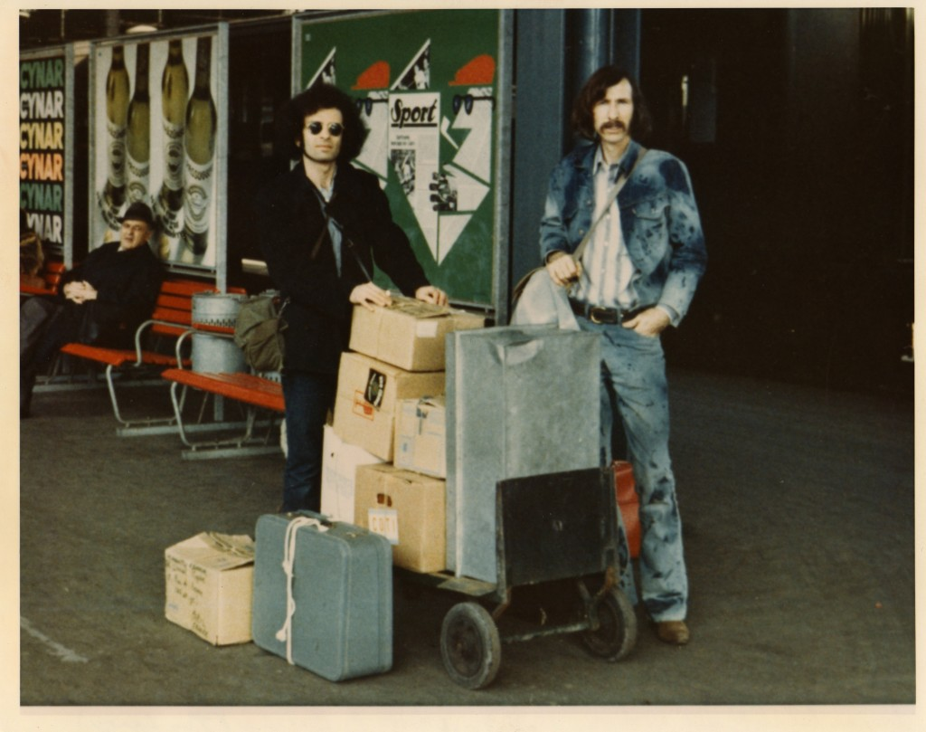 Archivists Michael Horowitz and Robert Barker at Lucerne, Switzerland train station, with Leary archives, February 1972. Photo: Timothy Leary