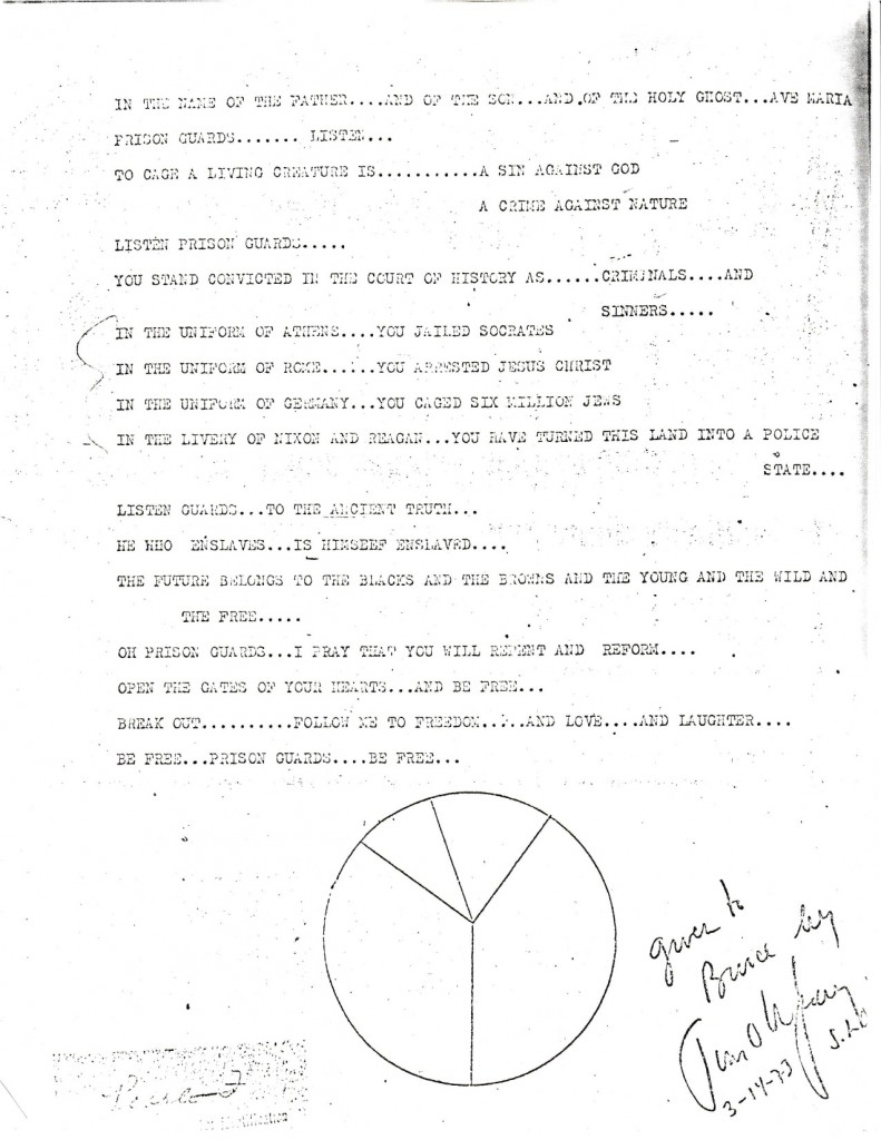 Letter left for guards by Timothy Leary, during his escape.