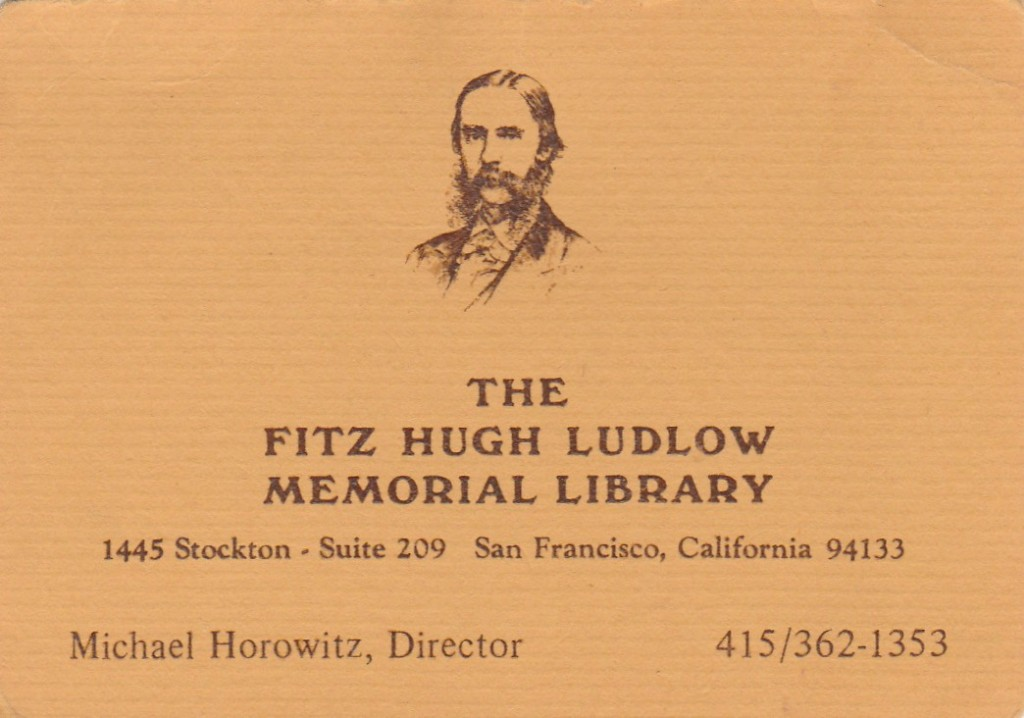 Fitz Hugh Ludlow Memorial Library business card.