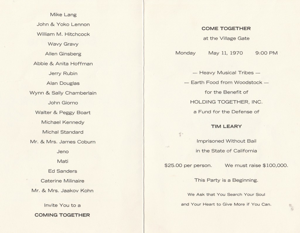Private invitation with guest list to fund-raiser for Leary's legal costs to appeal conviction. NYC, May 11, 1970.