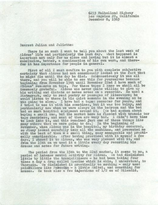 Laura Huxley letter re: manner of Aldous' death. Dec. 8, 1963.