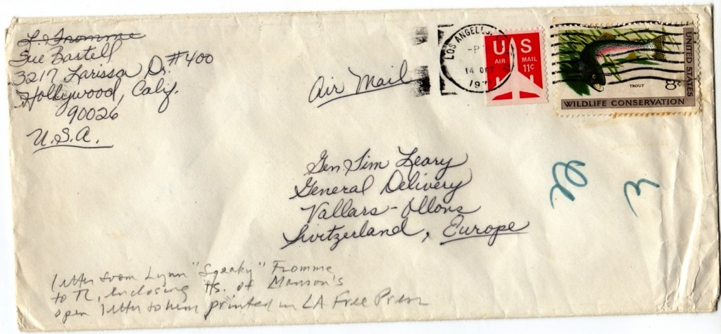 Envelope from Squeaky Fromme to Timothy Leary in Switzerland, containing Manson's Open Letter to Leary, published a year earlier in the LA Free Press.